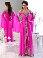 Cheap Free Shipping Elegant Hot New Pink Spaghetti Strap Long Sleeves Lace Beads Kaftan Evening Dresses Long Arabic Evening Gowns Robe De Soiree
