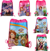 Wholesale 8 off Sofia Princess School bag style Backpack Drawstring bag Leisure package Children s beach bag tote bags DROP SHIPPING HG