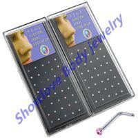 Wholesale OP Showlove L Shape Steel CZ gem Nose Stud Ring Piercing Jewelry pc Case