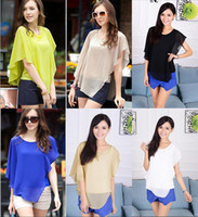 Cheap Wholesale -Europe and America sexy women Chiffon Flounced short sleeve batwing-sleeved blouse O-Neck 5 colors Size m-xxl