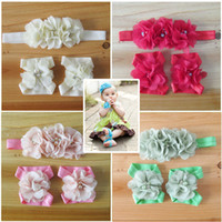 baby blooms - sets new style Elastic Headbands with chiffon flower baby barefoot sandal infant toe bloom shoes