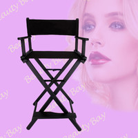 aluminum makeup chair - Portable Aluminum director chair black foldable nylon fabric with aluminum frame salon makeup chair sliver black color offered