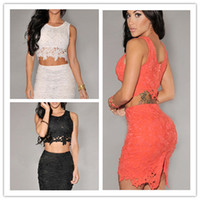 Wholesale 2014 New Summer Fashion Dresses Sexy Lace Sleeveless Party Dresses Empire Hollow Out Embroidery Design Two Piece Mini Club Dresses
