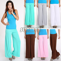 Cheap Highly Comfort Sexy Trendy Flare Solid Color Big Loose Yoga Dance Palazzo Pant Women Casual Wide Leg elastic waist Trousers b6