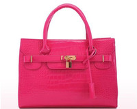 Wholesale 2014 New women s handbag Hot selling Korean fashion women s handbag Rose Red patent leather crocodile pattern handbag colors to TB11