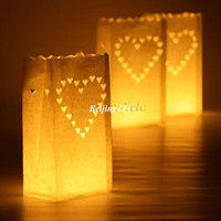 Wedding Event & Party Supplies White 20 pcs Heart Tea light Holder Luminaria Paper Lantern Candle Bag For BBQ Christmas Party Wedding