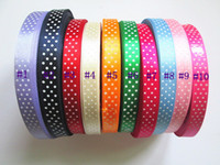 Wholesale 15mm width yards pc Printed White Polka Dots Satin Ribbon Wedding Party Decorative DIY Ribbon colors