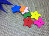 Cheap Free Shipping 10000pcs lot 21.0mm Multi Wooden Stars Shape Buttons Sewing Buttons Crafts Baby Cartoon Buttons For Scrapbooking