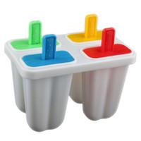 Cheap DIY Ice Cream Frozen 4Pcs Popsicle Maker Mold Icepop Block Icy Pole Lolly Set #22096