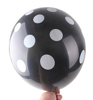 Wholesale 12 inch Polka Dot Latex Balloons BLACK Happy Birthday Day Wedding Party Decoration Green Yellow Pink Blue More Colors Option