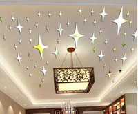 Cheap 3D star mirror stickers Christmas decorative roof ceiling star mirror decorated Christmas tree decoration mirror star sticers DIY 3D stars