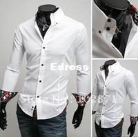 Cheap 2014 new New Mens Casual Slim Fit Stylish Dress Shirts long-sleeved blouse Inside silk fabrics