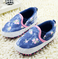 Cheap Drop shipping!Beautiful flowers baby shoes.Blue denim toddler shoes.Cheap soft bottom casual shoes.loafers.baby wear 5pairs 10pcs CL