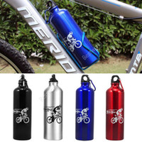 achat en gros de bouteille d'eau en aluminium gros-Gros-OP-Sport Voyage à Vélo vtt Bicyclette en Aluminium de Boire de l'Eau Portable Bouteilles Flacon Verrerie de garrafa, cette région De Agua Noir Argent