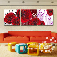 Cheap 3 panel big rose flower picture Modern Wall Painting bedroom Home Decorative Art Picture oil painting Paint on Canvas Pure hand-painted