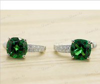 Wholesale Gemstone Jewelry Sterling Silver Jewelry Emerald Earrings Silver Super Flash Clip Earrings Top Quality