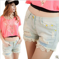 Cheap Light blue Vintage 2014 Summer Women Ripped Denim Shorts Casual Hole Hot Distressed Jeans Shorts SP3016 #2055