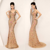 Wholesale SSJ SKU AJ016 Ready To Wear Real Dazzling Luxury Plunging Neckline Full Beaded Crystal Mermaid Champagne Tulle Evening Gown Pageant Dresses