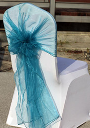 Wholesale 2014 High quality Colorful Cheap Hot sale Wedding Events Ribbons Buckles Teal blue Organza Chair Covers Sashes Bows