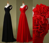 Wholesale 2015 Cheap One Shoulder Chiffon Black Red Bridesmaid Dresses Handmade Flowers Long Beach Bridal Evening Party Prom Gowns In Stock US
