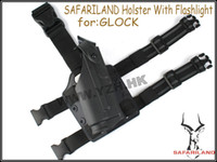 Cheap Wholesale-OP-Safariland Tactical DropLeg Holster for Glock Airsoft (Deluxe version)with flashlight free shipping