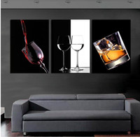 Cheap 3 Panels Huge Modern Decorative black Picture Superb Canvas Pure hand-painted Charm Wall Hanging decor Art red wine glass (No Frame)