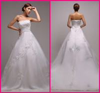 Cheap Delicate glam A-line Strapless Applique Floor length Court Charmeuse Stretch satin A-Line Wedding Dresses