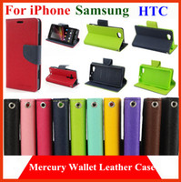 Cheap Mercury Wallet PU Flip Leather Case Cover For iPhone 4 4S 5 5S 6 plus 4.7 5.5 samsung S3 S4 mini S5 Note 2 3 4 htc one m7 m8 With Card Slots