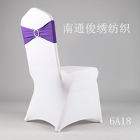 Wholesale 2014 High quality Colorful Cheap Hot sale Wedding Events Party Buckles Elasticity Satin Purple Chair Covers Bows Satin