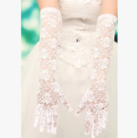 Wholesale New Fashion Black White Wedding Gloves Bridal Glove Vestido De Noiva See Through Lace Wedding Accessories Long Wedding Gloves