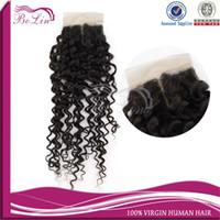 """Cheap Bolinhair 100% Brazilian virgin hair 4""""x4"""" 10-20"""" Deep curly weave middle part silk base closure DHL Free Shipping Virgin Human hair 1pc"""