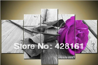 Cheap 5 Piece Wall Art No Framed Modern Abstract Acrylic Flower PURPLE rose Oil Painting On Canvas Orient Colorful Pure hand-painted picture
