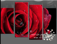 Cheap 4 Panel Wall Art Canvas Fine Art Pure hand-painted Picutres Large Cheap red Rose Oil Painting On Canvas For Home Decoration Flower