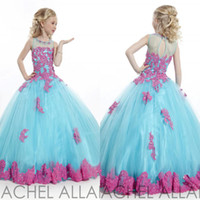 Wholesale New Design Little Girl s Pageant Dresses Blue Grew Neck Tulle Beaded Crystal Applique Pretty Charming Top Princess Little Girl Party Gown