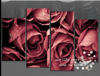 Cheap 4 Pieces Free Shipping Hot Sell Modern Wall Oil Painting Black Red Rose Flower Wall Art Picture Paint on Canvas Pure hand-painted