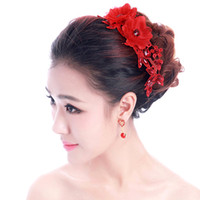 amazing fascinators - Amazing hiny Shinning Bridal Korean red cinnabar manual headdress flower bud silk flowers diamond wedding tiara qipao dress hair accessories