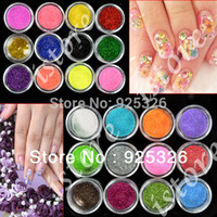 Cheap Wholesale-OP-2013 Fashion 24 Colors Metal Shiny Glitter decorations Nail Art Tool Kit Acrylic UV nail Powder Dust Stamp 3069