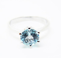 Wholesale Sterling Silver Li Blue Topaz Engagement Ring All Size