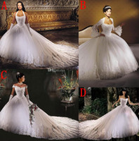 Wholesale New Creative Individual Wedding Gowns Ball Gown Halter Sweetheart Elegant White Lace Tulle Beads Ruched Sweep Train Bridal Gown
