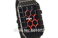 Cheap 1pc lot Freeshipping 2014 New design high quality grid lattice led watch, novelty item,alloy metal band and case,