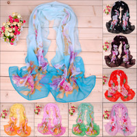 Printed best peonies - Fashion scarf new best selling new graffiti peony printed chiffon long scarf fedex delivery free of charge