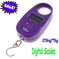 Cheap 25kg 5g 25kg*5g Mini Purple Display Hanging Luggage Fishing Weighing Digital Scale KG LB, freeshipping dropshipping