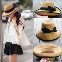 Wholesale 2014 Fashion Summer Khaki Women Cap Straw Beach Hat Black Curl Ribbon Roll up Trim Sun Flobby Women Hat H3139