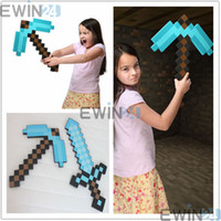 New Minecraft Foam DIAMOND Sword and PickaxeToys BLUE EVA Fo...