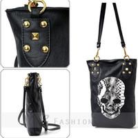 Cheap Free shipping!New Fashion Women's Shoulder Bag Punk Black Skull Face Designer PU Leather Handbag Lady Cross Body Bag 128-0702