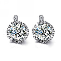 Cheap 2014 New arrive cute 925 Sterling Silver fashion jewelry noble pretty crystal women lady Earring free shipping