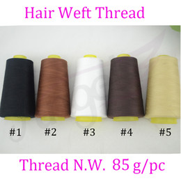 Wholesale 2500m sprool sewing thread for hair extension Weft Weaving Thread High Intensity cotton Thread Black Brown Dark Brown Blonde White optional