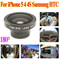 Wholesale Detachable Magnetic Degree Telephoto Fisheye Lens Fish Eye for iPhone S Samsung HTC Mobile Phone Black Red Silver