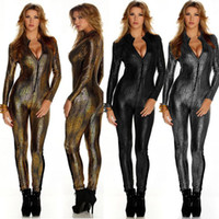 overalls - New Women Sexy Metal Snake Skin Faux Leather Zipper Fornt Bandage Jumpsuit Bodysuit Catsuit Overall