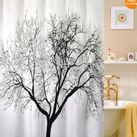 Wholesale New Big Black Scenery Tree Design Bathroom Waterproof Fabric Shower Curtain Hooks
